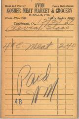 Receipt for Chevrah Shaas from Avon Kosher Meat Market and Grocery for $2.40, 1947