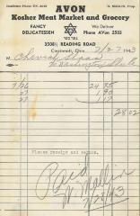 Receipt for Chevrah Shaas from Avon Kosher Meat Market and Grocery for $28.02, 1943
