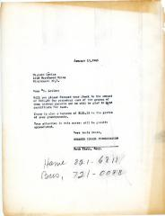 Letter from Leon Levine concerning perpetual care funds, January 13, 1965