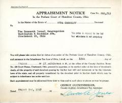 Appraisement Notice for the estate of Anna Groshoff, August 12, 1957