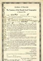 Dated January 19, 1950, Certificate of Ownership for lots at the Kneseth Israel Congregation Cemetery for Mr. Stablemen