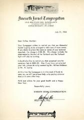 Letter to Ms. Libby Sway from Kneseth Israel Congregation Cemetery concerning the ownership of a plot next to Ms. Sway's brother's lot, May 20, 1979