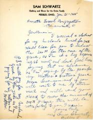 Correspondence with Mrs. Sam Schwartz concerning her husband's grave costs, January 21, 1955
