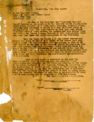Correspondence with the Vigransky family concerning their memorial chapel, July 7, 1963