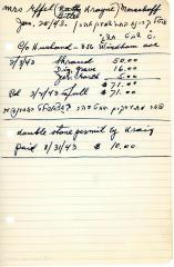 Effel Menachoff's cemetery account statement from Kneseth Israel, beginning February 3, 1943