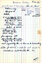 Abraham Nathan's cemetery account statement from Kneseth Israel, beginning April 11, 1967
