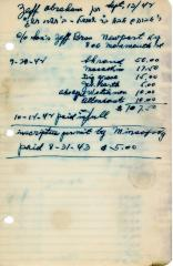 Abraham Zeff's cemetery account statement from Kneseth Israel, beginning September 28, 1942