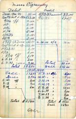 Financial Statement from Kneseth Israel for the member account belonging to Moses Vigransky, 1936-1937