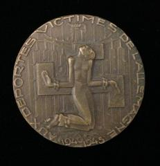 French Medal issued in honor of the Victims of the German Deportations from France to Various Concentration Camps from 1940 - 1945