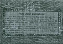 Hugo Adler Preisgekront