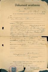 Dokument Urodzenia 1938