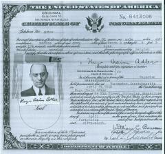 Hugo Chaim Adler's United States Certificate of Naturalization