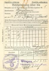 Befcheinigung über die 1937