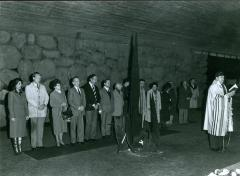 Photographs of a Group in the The Hall of Remembrance at Yad Vashem Standing by the Eternal Flame