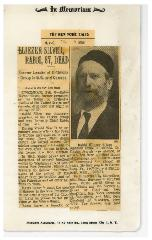 Obituary of Rabbi Eliezer Silver, New York Times, 2.9.1968