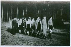 Photo Werner Coppel marching with other students of Hakshira