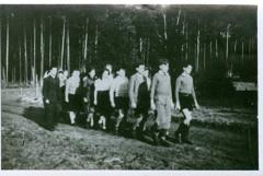 Photo Werner Coppel marching with other students from Hakshira