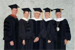Photo Werner Coppel in robes with Administrators