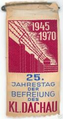 Ribbon in honor of the 25th Anniversary of the Liberation of the Concentration Camp Dachau - 1970