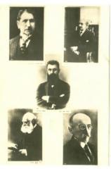 Postcard of Five Zionist leader: Dr. Theodor Herzel, Chaim Weizmann, Nachum Sokolov, Achad Ha'am, and Max Nordau