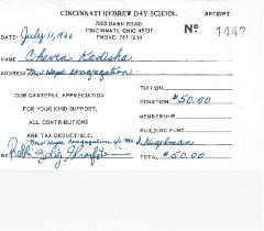 Cincinnati Hebrew Day School Contribution Receipts from 1966, 1967 & 1968