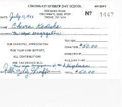 Cincinnati Hebrew Day School Contribution Receipts from 1966, 1967 & 1968