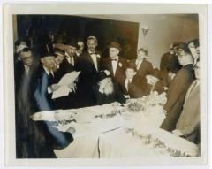 Rabbi Eliezer Silver Reading the Kesubah at Unknown Wedding with Harav Aharon Kotler also in Attendance
