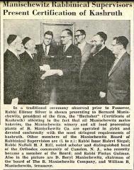 Rabbi Eliezer Silver's Supervision of the Manischewitz Company's Passover Kashruth