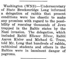 Article Regarding 1941 Request to the US State Department to Attempt to Rescue Baltic Jews Stranded by the Nazi Invasion