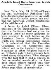 Article on Agudath Israel of America Quitting the American Jewish Conference in 1943 - The Chicago Sentinel