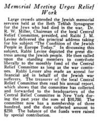 Article Regarding a 1916 Memorial Meeting in Cincinnati Regarding Jews in Europe Suffering in World War I