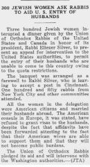 Article on Goodbye Banquet for Rabbi Silver Being Interrupted by Jewish Women Seeking Immigration Assistance for their Foreign Husbands - Chicago Sentinel 1931