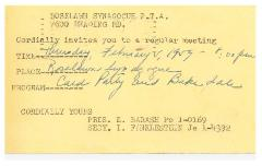 Invitation to Roselawn Synagogue PTA Meeting 1959