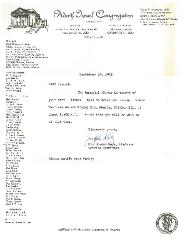 Adath Israel Congregation (Cincinnati, Ohio) Letter from Joseph Katz