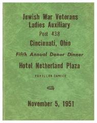 Jewish War Veterans Ladies Auxiliary (Post 438) Cincinnati, Ohio, Fifth Annual Donor Dinner Book