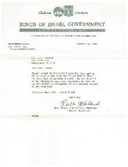 Letter from the Cincinnati (Ohio) Committee of the Bonds of Israel Government - 1952