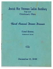 Jewish War Veterans Lady Auxiliary, Post 438 - Cincinnati, Ohio, Third Annual Donor Dinner Book - 1949
