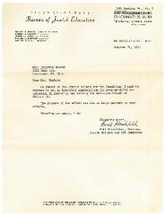 Letter to Benjamin Dombar from the Cincinnati (Ohio) Bureau of Jewish Education - 1952