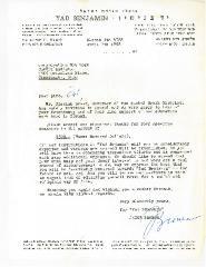 Yad Benjamin Contribution Receipt - 1968