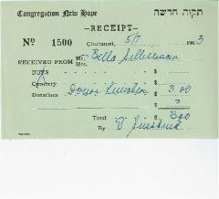 New Hope Congregation Donor Receipt