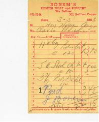 New Hope Congregation Burial Society Receipt - Bonem's Kosher Meat and Poultry - 1968