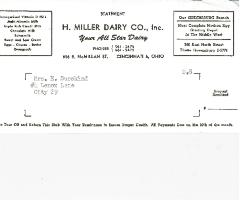 H. Miller Dairy Company (Cincinnati, Ohio) Receipts