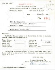 American Committee for Shaare Zedek Hospital in Jerusalem Contribution Receipt - 1968