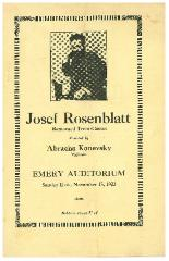 Musical Program for Josef Rosenblatt accompanied by Abracha Konevsky, Concert at Emery Auditorium Program, November 18, 1923, Cincinnati, Ohio