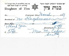 Daughters of Zion, Cincinnati Chapter, Charitable Contribution Receipt - 1969