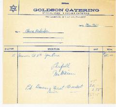 Goldson Catering (Cincinnati, Ohio) Receipt - 1967