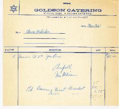 Goldson Catering (Cincinnati, Ohio) Receipt - 1967