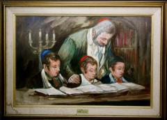 Painting of Rabbi Teaching Children by Louis Spiegel
