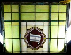 Set of 4 Rectangular Stained Glass Windows with Flag of Israel from North Avondale Synagogue