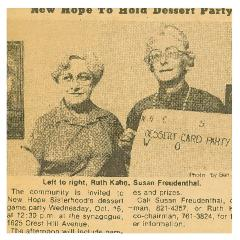 "Article Regarding ""New Hope Congregation to Hold Dessert Party"""